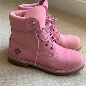 Pink women's Timberland boots